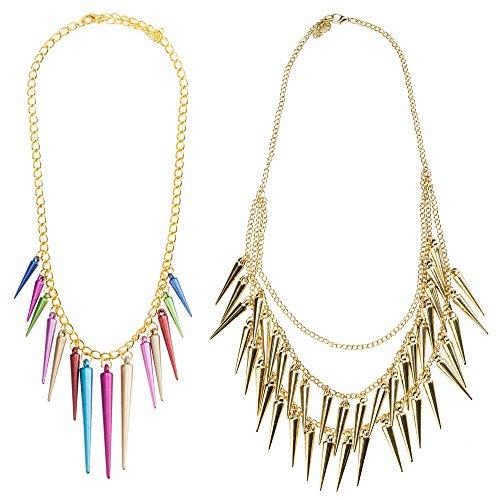 Juego de joyería impresionante con 2 collares estilo punk gótico incluyendo dorado con cadenas y espigas borlas y uno con remaches coloridos en forma de pirámides en cadena de color oro por VAGA