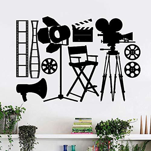 SUPWALS Camera Vinyl Wall Sticker Vintage Spot Light Movie Cinema Self-adhesive Wall Decals Living Room Teen Room Art Decoration
