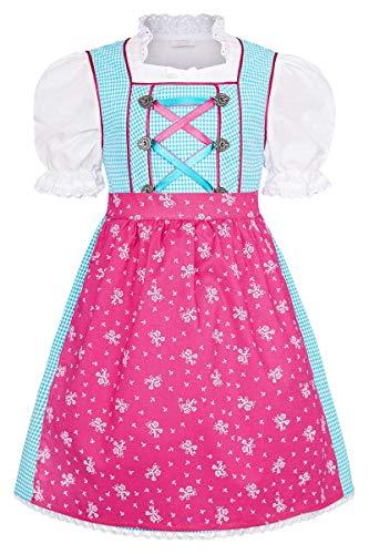 COALA Mädchen Kinderdirndl | 3-teiliges Set | mit Dirndl-Bluse und Dirndl-Schürze | rosa pink, TÜRKIS/PINK, 86/92