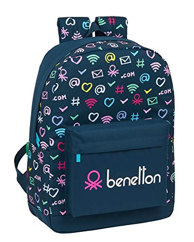 safta Mochila Escolar de Benetton Dot Com, 320x140x430mm, azul marino/multicolor, M (M754)