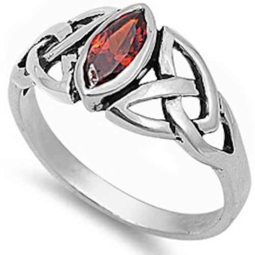 Oxford Diamond Co Cool Celtic Design & Simulated Garnet Cz .925 Sterling Silver Ring Size 10