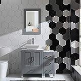 36' Gray Bathroom Vanity Cabinet Solid Wood w/Marble top Mirror, Faucet&Drain Set