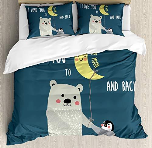 Zozun I Love You Duvet Cover Set, Teddy Bear and Penguin Best Friends Arctic Lovers Under Moon Cartoon, Decorative 3 Piece Bedding Set with 2 Pillow Shams, Blue Yellow