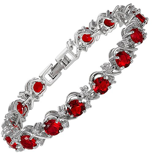 RIZILIA Blossom Round Simulated Red Ruby and White Cubic Zirconia 18K White Gold Plated Tennis Bracelet, 7'