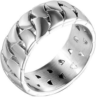 Anello Uomo Titanio Cinturino a Catena Cava Festa Ogni Giorno, WLG, acciaio, taglia 8