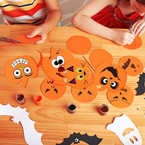 Gofypel Foam Pumpkins Craft Kit Halloween Stickers Kids DIY Halloween Arts with Self-Adhesive Pumpkin Stickers for Halloween Kids Craft Party Decorations 16 Sets
