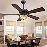 52 Inch Creative Design Ceiling Fan Light with Glass Lampshade,5 Reversible Wood Blades Remote Control LED Light Chandelier 3 Speeds for Home