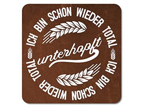 Interluxe LED Bier Untersetzer - Ich Bin Schon Wieder total unterhopft - Bierdeckel mit eingebautem Licht und witzigem Spruch