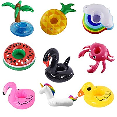Erlsig Inflatable Drink Holders Summer Water Float Toy 9 Packs Drink Floats Flamingo Unicorn Duck Cup Holders Coasters Pool Party and Kids Bath Toys