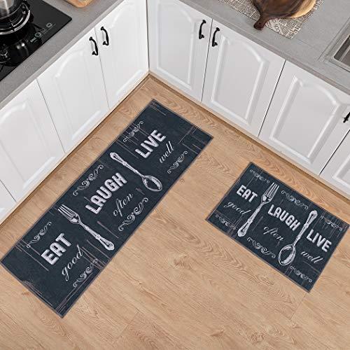 Carvapet 2 STK. rutschfeste Küchenmatten und Teppiche Waschbare Gummiunterlage Fußmatte Runner Mikrofaser-Teppichset