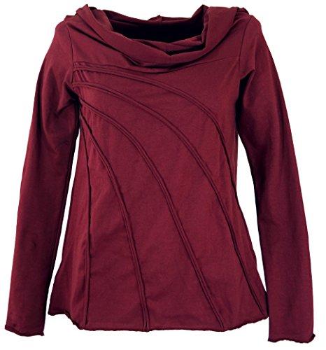 GURU SHOP Langarmshirt -chic mit Schalkapuze, Bordeaux, Baumwolle, Size:M/L (42), Pullover, Longsleeves & Sweatshirts Alternative Bekleidung