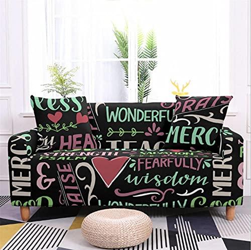 Patrón de Letra roja Funda de sofá de 3 Plazas Funda Elástica para Sofá Poliéster Suave Sofá Funda sofá Antideslizante Protector Cubierta de Muebles Elástica