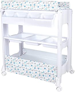 Family care/Baby Diaper Changing Table with Hamper and Storage Baby Changing Diaper Station with Wheels Storage Rack Dresser Station Table Changer Tray Bathing Massage Station Nursery Organizer