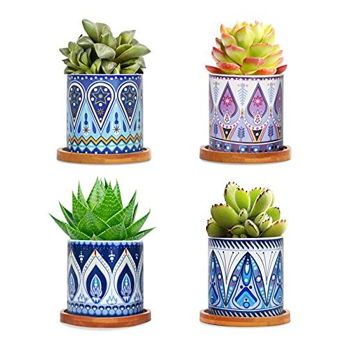 FairyLavie Macetas Pequeñas para Plantas de Cerámica de 7CM, Plantador para Suculentas con Patrón de Mandala, Tiesto de Flores con Bandeja de Bambú, Conjunto de 4PCS…