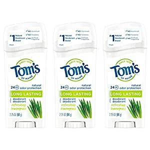 WHAT YOU'LL GET: Contains three 2.25-ounce sticks of Tom's of Maine Natural Deodorant for Women in Refreshing Lemongrass Scent 24-HOUR ODOR PROTECTION: Feel fresh all day with a blend of natural deodorant ingredients ALUMINUM-FREE: Start your day wit...