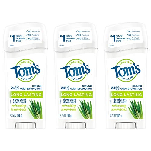 Tom's of Maine Long-Lasting Natural Deodorant, Aluminum Free Deodorant, Deodorant for Women, Lemongrass, 2.25 Ounce, 3-Pack