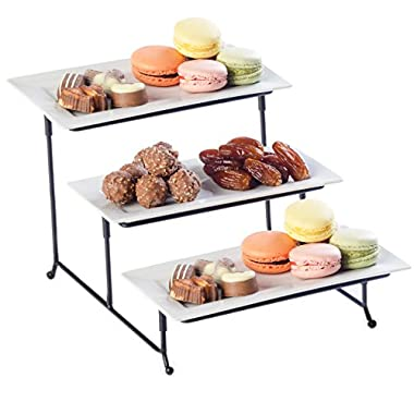 Food Serving Tray Set 3 Tier Metal Display Stand With Three White Rectangular Dishes Platters Wire Footed Steel Rack For Salad Bowls Fruit Cake Cookies Collapsible Classy Serveware for Parties Hosting