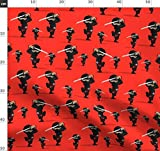 Ninja, Rot, Schwert Stoffe - Individuell Bedruckt von