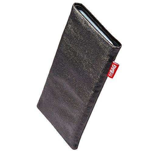 fitBAG Techno Schwarz Handytasche Tasche aus Textil-Stoff mit Microfaserinnenfutter für Kodak Ektra | Hülle mit Reinigungsfunktion | Made in Germany