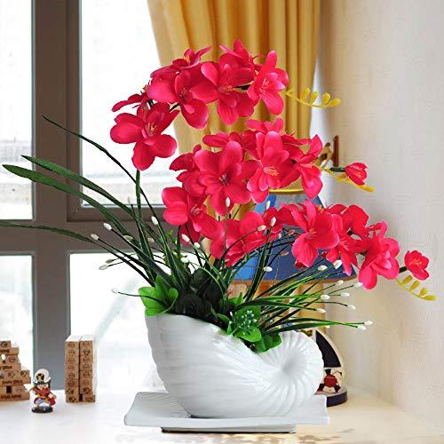 Xgruisi - Flor artificial de orquídea en jarrón de cerámica fucsia con...