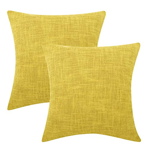 Lewondr Funda de Almohada de Lino Fino, Set de 2 Cuadrado Suave Tejido Fino Almohada Cubierta de Color sólido para Sofá Cojín Decoración 18 x 18 Inch - Amarillo