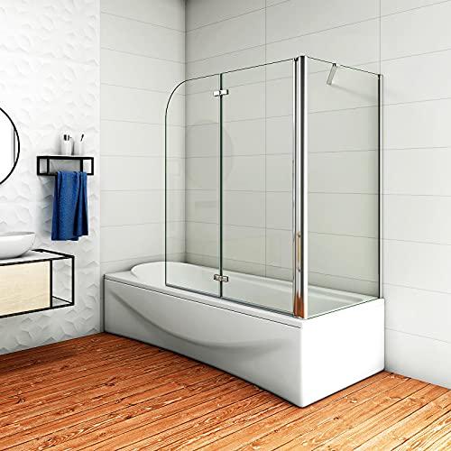 Aica Sanitär Badewannenaufsatz Eck Duschwand Badewanne 2-tlg.Faltwand mit Seitewand 6mm Nano Glas H140cm