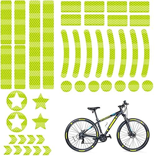 Vnice Reflector de Bicicleta Pegatinas Impermeables Reflectores Kit de Cinta Reflectante Pegatinas de Bicicleta Alta Visibilidad y Seguridad Durante el Ciclismo Nocturno(Amarillo)