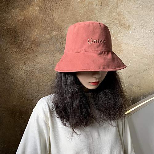 Doppelseitiger Fischerhut weiblicher Sommer dünner Hut weiblicher wilder Sonnenschutz-Sonnenhut japanischer Sonnenhut-Beidseitig tragbar (55-58cm)_Ziegelrot