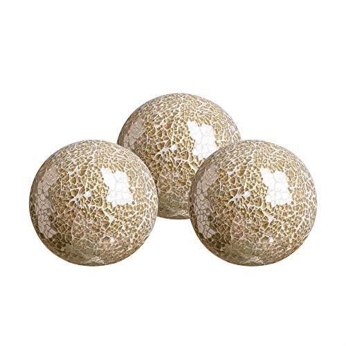 WH Housewares Glass Decorative Balls Set of 3 Glass Mosaic Sphere Diameter 4'(Gold)