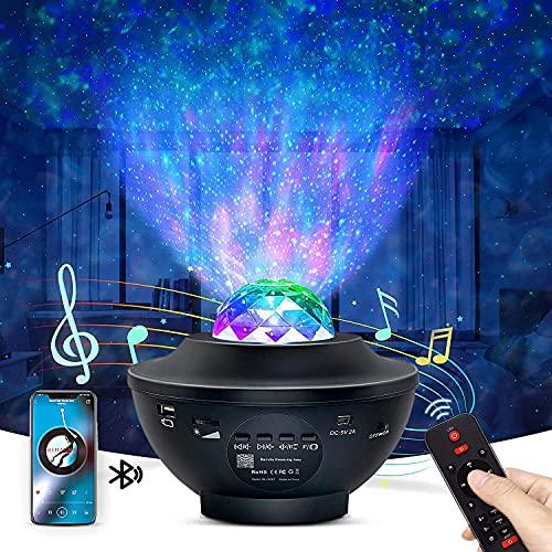 Nestling Luz Nocturna Infantil.Lámpara Proyector Estrellas Infantil,Lámpara de Nocturna con Remoto y Bluetooth.para Bebe.dormitorio, fiesta, cumpleaños, familia, pequeños obsequios de Regalo Navidad.