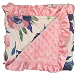 Dear Baby Gear Baby Blankets, Pink and Blue Abstract Watercolor Flower, Pink Minky, Pink Ruffle