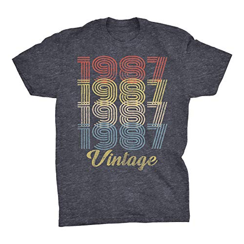 33rd Birthday Gift T-Shirt - Retro Birthday - Vintage 1987 Original Parts - 004-Dk. Heather-Md