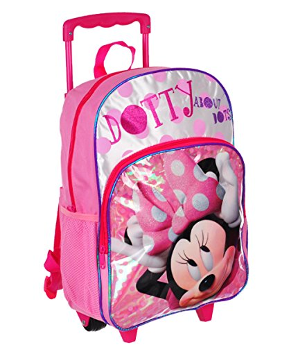Disney 16' Minnie Mouse Polka Dot Rolling Backpack Large Pink