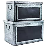 Pam's Glam Set of Two Rustic Galvanized Tin Boxes with Chalkboard Labels Decorative Storag...