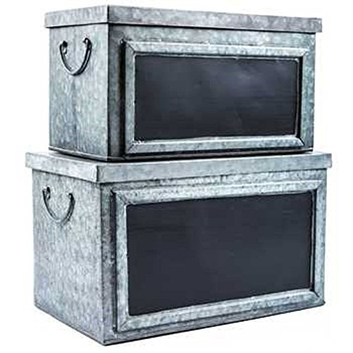 Set of Two Rustic Galvanized Tin Boxes with Chalkboard Labels Decorative Storage Bins or Chests