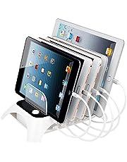 Evfun USB充電ステーション 5台同時充電スタンド 2.4A 5ポート デスクトップスマホ収納充電 タブレット/iPad/iPhone/Xperiaなど対応 スイッチ付き(シルバー)
