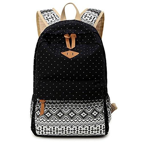 Sac à dos en toile Sac d'école Sac porté épaule - Pour Voyages, scolaire, loisirs -Cartable en toile-Noir