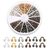 Pandahall 1Box/180pcs 6 Colors Brass Wire Guardian Cable Thimbles Wire Thread Protector Wire Terminators Cap End Tip Beads Mixed Color 5x6x2mm Hole: 1.5mm