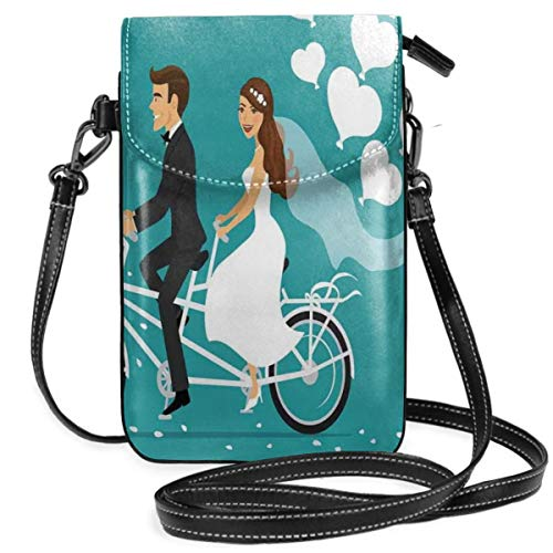Women Small Cell Phone Purse Crossbody,Man And Woman On A Tandem Bicycle With Heart Balloons Cartoon