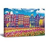 Lienzo impreso en lienzo para pared, tulipanes en Ámsterdam, 1 panel, decoración para dormitorio, sala de estar, dormitorio, oficina, hogar, 40 x 60 cm
