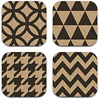 Modern Geometric Patterns Mixed Design Cork Coaster Set of 4 Coworker Gift