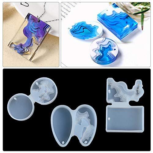 3 moldes de silicona con diseño de isla de resina ZGL, con temática océana, para hacer joyas y joyas de resina