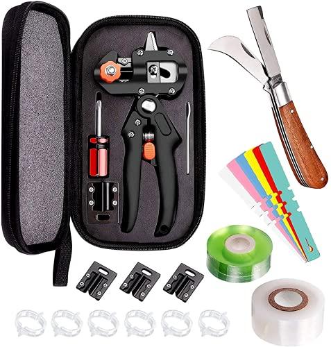 Kit de herramientas de injerto, juego de podadoras de jardín que incluye cuchillas de repuesto, cuchillo de injerto, etiquetas de plantas y Clips de jardín, perfecto para Injerto de árboles frutales