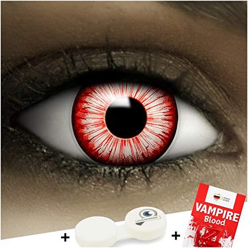 Farbige Kontaktlinsen ohne Stärke Walking Zombie + Kunstblut Kapseln + Kontaktlinsenbehälter, weich ohne Sehstaerke in weiß und rot, 1 Paar Linsen (2 Stück)