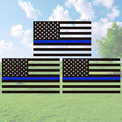 GEAROOT3 팩 죽을 잘 반사 얇은 블루 라인 벽 미국 국기 스티커를 위한 자동차 및 트럭 5X3 인치 군사는 미국 국 비닐-에 대한 지원이 경찰하고 법 집행