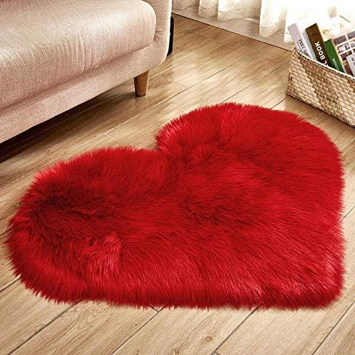 GANE Teppiche Shaggy Carpet Faux, Schlafzimmer Herzförmig Super Soft Faux Fur Lammfell für Schlafzimmer Halle Wohnzimmer Home Decor Rot