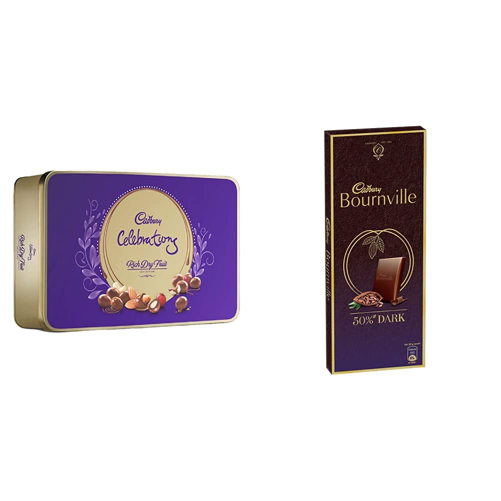 Cadbury Celebrations Rich Dry Fruit Chocolate Gift Box, 177 g & Cadbury Bournville Rich Cocoa Dark Chocolate Bar, 80 gm (Pack of 5) 1