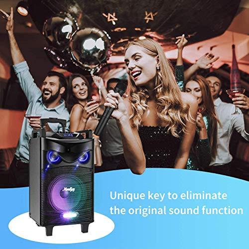 Sistema PA Audio Moukey Cassa Portabile Ricaricabile Impianto Audio di 520 Watt peak power da 10 Pollice Impianto Karaoke con ingressi USB SD MP3, un microfone, telecomando