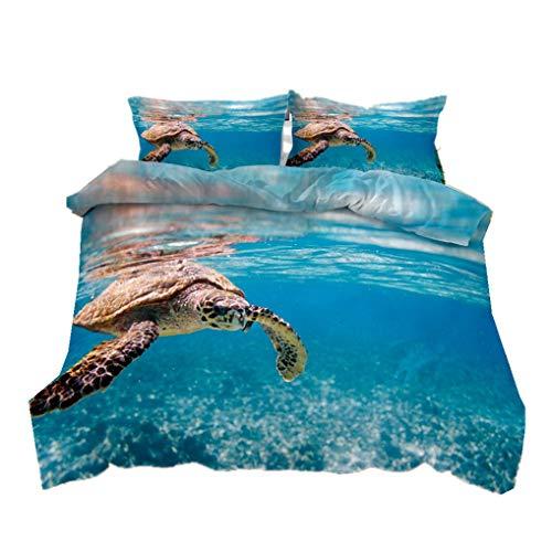 Bettbezug und Kissenbezug 3D Tier Schildkröte Bettwäsche Set Unterwasserwelt Tropischer Fisch der Riffkoralle Mikrofaser Kind Junge Mädchen (Stil 2, Bettbezug 155x220 cm + 2 Kissenbezug 80x80 cm)