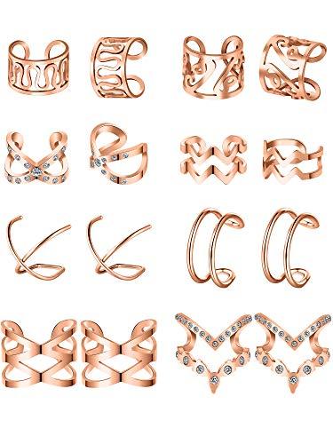 Blulu 8 Paare Edelstahl Ohr Manschette Ohrklemme Nicht Piercing Clip auf Knorpel Ohrringe für Männer Damen (Stil Set 2, Rose Gold)
